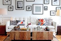 picture arrangement rustic coffee table