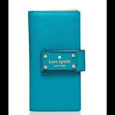 """ SALE "" Kate Spade Wellesley Stacy Wallet !  The "" Wellesley Stacy "" Wallet !! Color "" Neon Turquoise "" ! Boarskin embossed cowhide with smooth leather trim ! Capital Jade Jacquard Lining! 6.6 "" x 3.5"" . Bifold wallet ! Exterior zip pocket! 4 billfolds an ID window and 13 credit card slots ! It has it all, plus this beautiful color !! . NO BUNDLING !!!! kate spade Bags Wallets"
