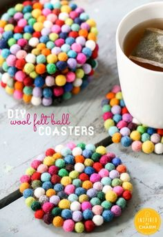 DIY Wool Felt Ball Coasters by Inspired by Charm ...SO CUTE! @Michael Dussert Dussert Wurm, Jr. {inspiredbycharm.com}