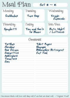 free Meal Plan printable (empty - ready to print and fill in)