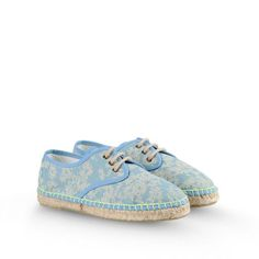 Stella McCartney - Cotton espadrillles in a blue daisy print, inspired by our mainline collection. <br> Lace up style with fluro stitching detail. - PE15 - f