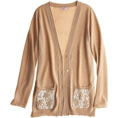 CALYPSO St. Barth Kyla Sequin Pocket Cardigan ($229) ❤ liked on Polyvore