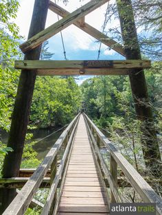 Cross the swinging bridge over the Toccoa River, the longest east of the Mississippi, near Blue Ridge