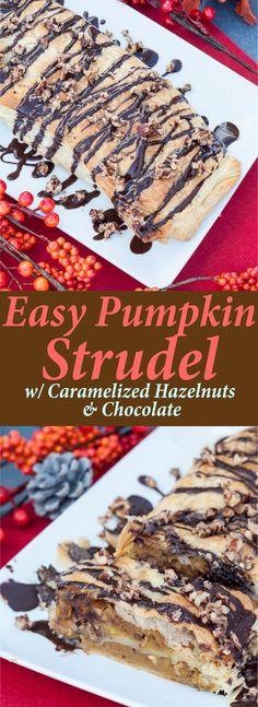 Easy Pumpkin Strudel w/ Caramelized Hazelnuts & Chocolate (V,GF)   VeganFamilyRecipes.com