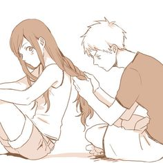 So cute! The guy looks so frustrated trying to deal with her hair. XD Love it!!!