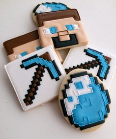 Minecraft cookies (steve cookies, diamond cookies, pickaxe cookies)