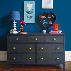 With a timeless, traditional style, The Land of Nod's Bayside 7-Drawer Dresser works perfectly in a boy's room or a girl's room. It features stunningly beautiful wood grain that makes each piece unique. Available in a Stained Denim or Stained Cocoa finish, it features zinc drawer pulls with an antique silver finish.