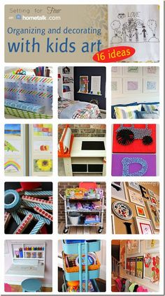 Do you have piles of kids artwork that you'd love to display but not sure how? The kiddo's art supplies need organization? Check out these  16 fun ideas to Display Kids Art and Organize Kids Art Supplies!