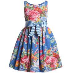 Ralph Lauren Blue Floral Cotton Dress | Childrensalon