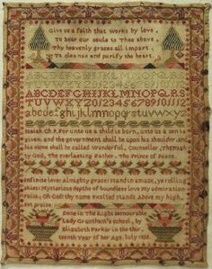 """Early Century """"Lady Grantham's"""" School Sampler by Elizabeth Parker 1828 Sewing Hacks, Sewing Projects, Sewing Tips, Elizabeth Parker, Made By Mary, Embroidery Sampler, Cross Stitch Samplers, Country Crafts, Sewing Notions"""