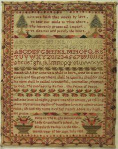 "Early 19th Century ""Lady Grantham's"" School Sampler by Elizabeth Parker 1828 | eBay"