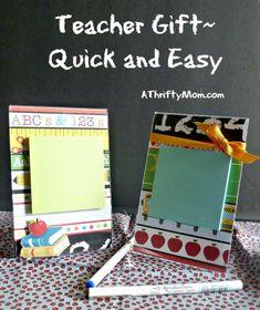 Teacher gift idea - photo frame, scrapbook paper, post-it notes