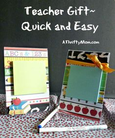 Teacher gift idea - photo frame, scrapbook paper, post-it notes