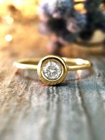 0.20CT Diamond Solitaire Engagement <Bezel> Solid 14K Yellow Gold (14KY) Stackable Wedding Ring