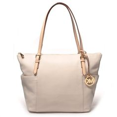 Michael Kors Jet Set East West Top Zip Leather Tote Vanil...