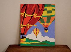 Vintage paint by number hot air balloon painting by TeaStainedLace, $12.00