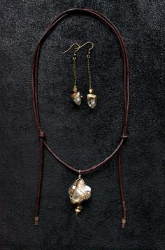 CRYSTAL Leather Necklace rustic brown natural by SiamicWear