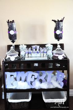 Baby shower candy table..(look at the name at the bottom)