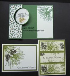 Lynn used the versatile Ornamental Pine set for her trio of cards. All supplies from Stampin' Up!