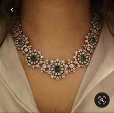 Diamond Earrings Indian, Diamond Necklace Set, Diamond Choker, Emerald Necklace, Cluster Necklace, Emerald Jewelry, Emerald Diamond, Diamond Jewelry, Indian Jewelry Sets
