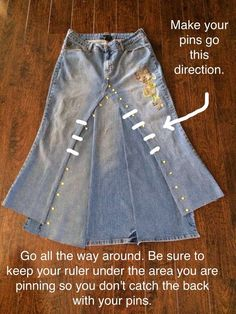 So, She Sews Skirts (and Other Stuff Too): Transforming Jeans Into Skirts, A Photo Tutorial Reuse Jeans, Diy Old Jeans, Sewing Clothes, Diy Clothes, Cut Up Jeans, How To Make Skirt, Denim Ideas, Model Outfits, Denim And Lace