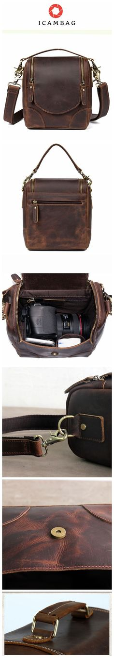 Vintage Small Leather DSLR Men and Women Camera Bag
