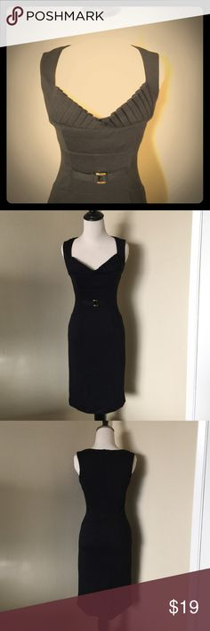 Black Pin Up Vintage-Style Pleated Sheath Dress Black Sheath dress from XOXO sz 3/4 - would best fit size Small or 4. Beautiful pleating along neckline and gold hardware embellishment at inset waist. Small slit at center back. Stretchy knit. Back zipper closure. Length: 37 inches. Bust: 14-15 inches, waist: 13 inches, hips: 16 inches. Worn a few times, great condition! XOXO Dresses