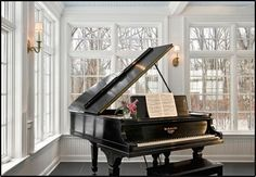 A grand piano which will exist outside the music room just in case I feel like showing my talent t guest. I love playing the piano therefor I need one in my house, The Piano, Grand Piano Room, Steinway Grand Piano, Piano Studio Room, Piano Living Rooms, Living Area, Dining Room, Traditional Family Rooms, Traditional Design