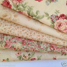 MODA 5 fat quarter bundle Chocolate & Roses CREAM 100%  cotton fabric patchwork
