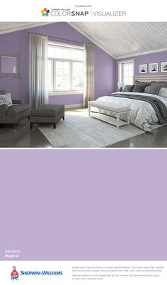 I found this color with ColorSnap® Visualizer for iPhone by Sherwin-Williams: Magical (SW 6829).