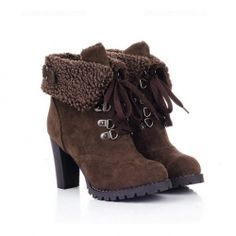 $19.74 Retro Casual Chunky Heel Women's Combat Boots With Soild Color Lace-Up and Buckle Design