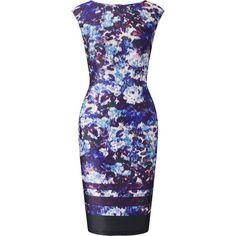 Adrianna Papell Ikat Sheath Dress, Plum/Multi featuring polyvore women's fashion clothing dresses floral midi dress floral shift dress sleeveless maxi dress purple dress shift dress