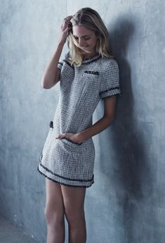 Channel an era-bending look with a tweed dress.