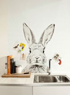 darling animal printed magnetic wallcovering | Rabbit - Groovy Magnets |