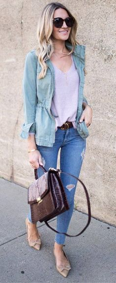 fall casual style / jacket + sweater + bag + rips + loafers