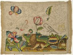 Unfinished 17th Century Picture.    A brilliantly coloured partially worked embroidery in tent and rococo stitch in shaded floss silks on a linen ground, the unfinished area with drawn details clearly visible.    English. Circa 1660.  Framed Size. 13 x 15 ins.