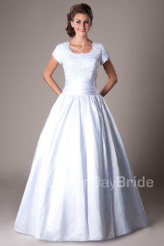 Modest Wedding Dresses :  Mormon LDS Temple Marriage - Castleford  #LDSTemples #MormonTemples #Gospel