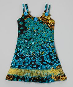 Look what I found on #zulily! Black & Turquoise Floral A-Line Dress - Toddler & Girls #zulilyfinds