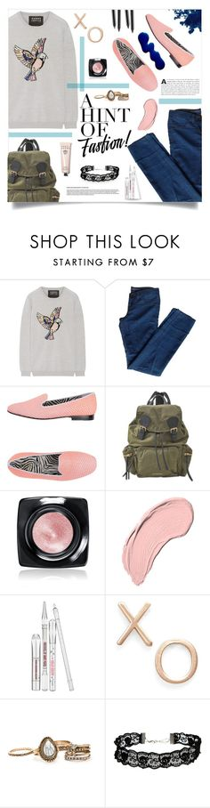 """""""A hint of fashion"""" by meryfern ❤ liked on Polyvore featuring Markus Lupfer, J Brand, Communication Love, Burberry, Bobbi Brown Cosmetics, NYX, Benefit, Poppy Finch, ASOS and Pink"""