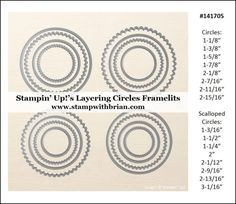 Measurements for Stampin' Up!'s Layering Framelits