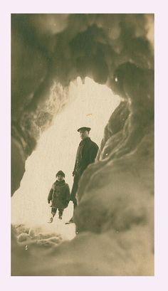 Early 1900 ice caves on Lake Michigan in Charlevoix Mi