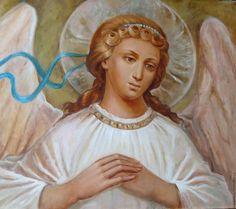 Купить картина-икона: Ангел-хранитель 50х70, можно репродукцию на холсте-5т. - бледно-розовый