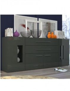 Aquila- Modern 4 Drawers Sideboard in Anthracite Gloss Finish With Lights Mirrored Sideboard, Large Sideboard, Vintage Sideboard, Side Board, Buffet, Clutter Free Home, Homestead Living, Cabinet Space, Dcor Design