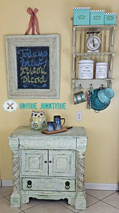 """A weathered Buffet and matching chalkboard created for the Fab Furniture Flipping Contest """"Coastal Inspirations"""" sponsored by SaltWash 