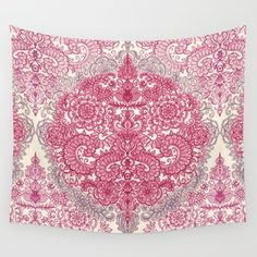 Wall Tapestry featuring Happy Place Doodle In Berry Pink, Cream … by Micklyn