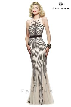 2a1a2cf0a45958 Ivory and black silver stretch tulle evening dress with liquid style  beading detail