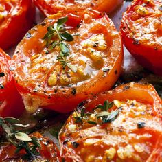 Jack's Slow Roasted Tomatoes! Glazed with our EVOO and Traditional 18 year Aged Balsamic Vinegar, this recipe can be easily adapted to be an appetizer, side dish, or tomato jam to go with pork. We got this stellar recipe from one of our long time customers, and named it after him!