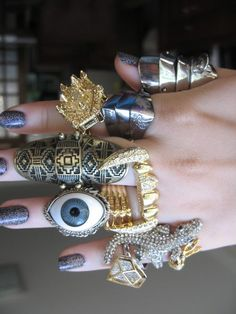 look at my eye, different chunky jewelry