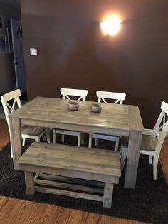 5ft harvest table with bench and chairs in a special grey stain mix we created