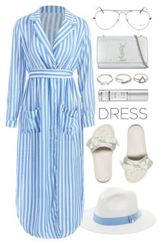 """""""Remember.."""" by smartbuyglasses ❤ liked on Polyvore featuring Melissa Odabash, Puma, Ray-Ban, Yves Saint Laurent, GUESS, white, Blue and easydresses"""